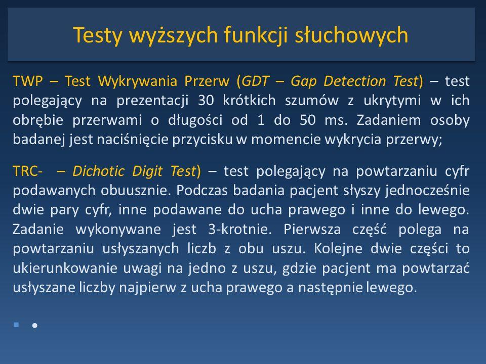 Testy wyższych funkcji słuchowych TWP – Test Wykrywania Przerw (GDT – Gap Detection Test) – test polegający na prezentacji 30 krótkich szumów z ukryty