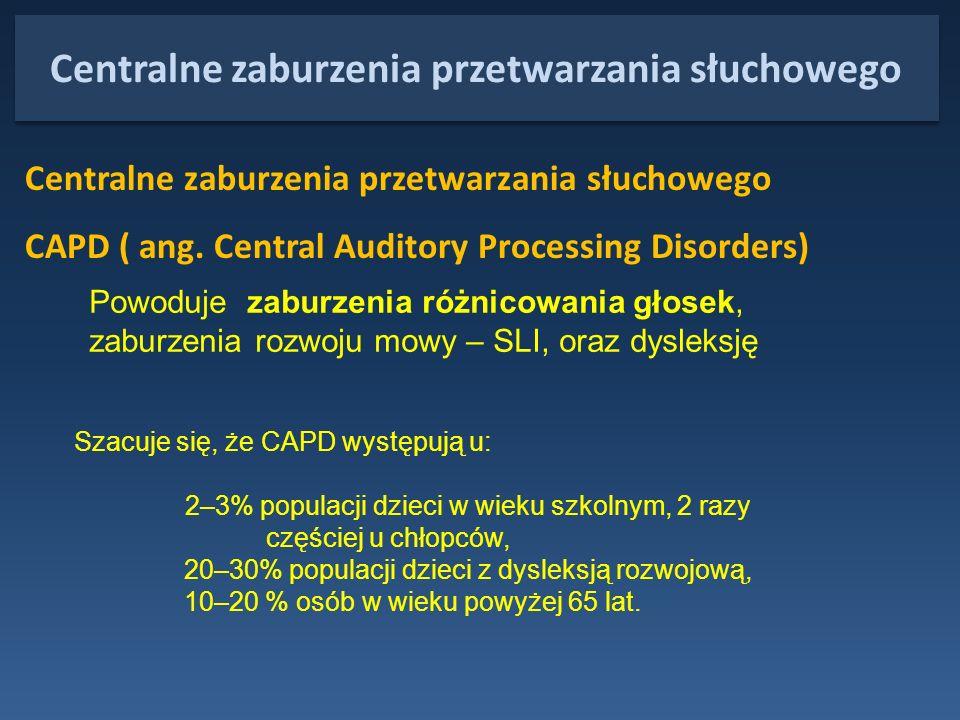 Centralne zaburzenia przetwarzania słuchowego Centralne zaburzenia przetwarzania słuchowego CAPD ( ang. Central Auditory Processing Disorders) Powoduj