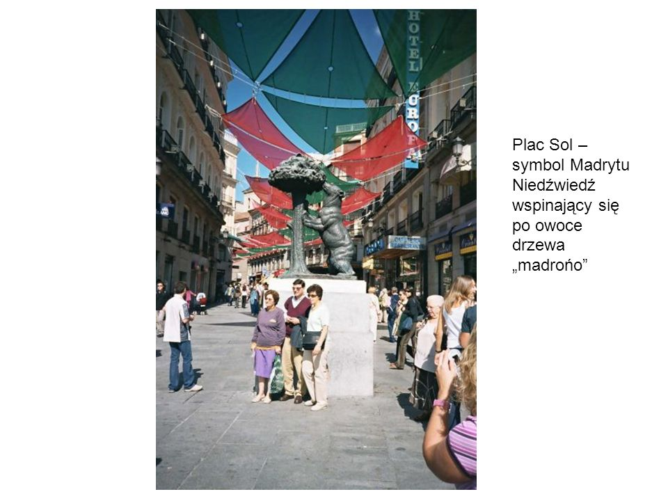 Plac Sol – symbol Madrytu Niedźwiedź wspinający się po owoce drzewa madrońo