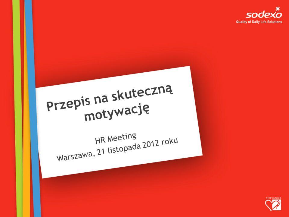 Przepis na skuteczną motywację HR Meeting Warszawa, 21 listopada 2012 roku