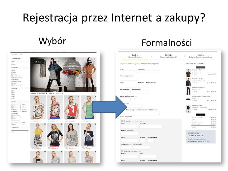 Rejestracja przez Internet a zakupy Wybór Formalności