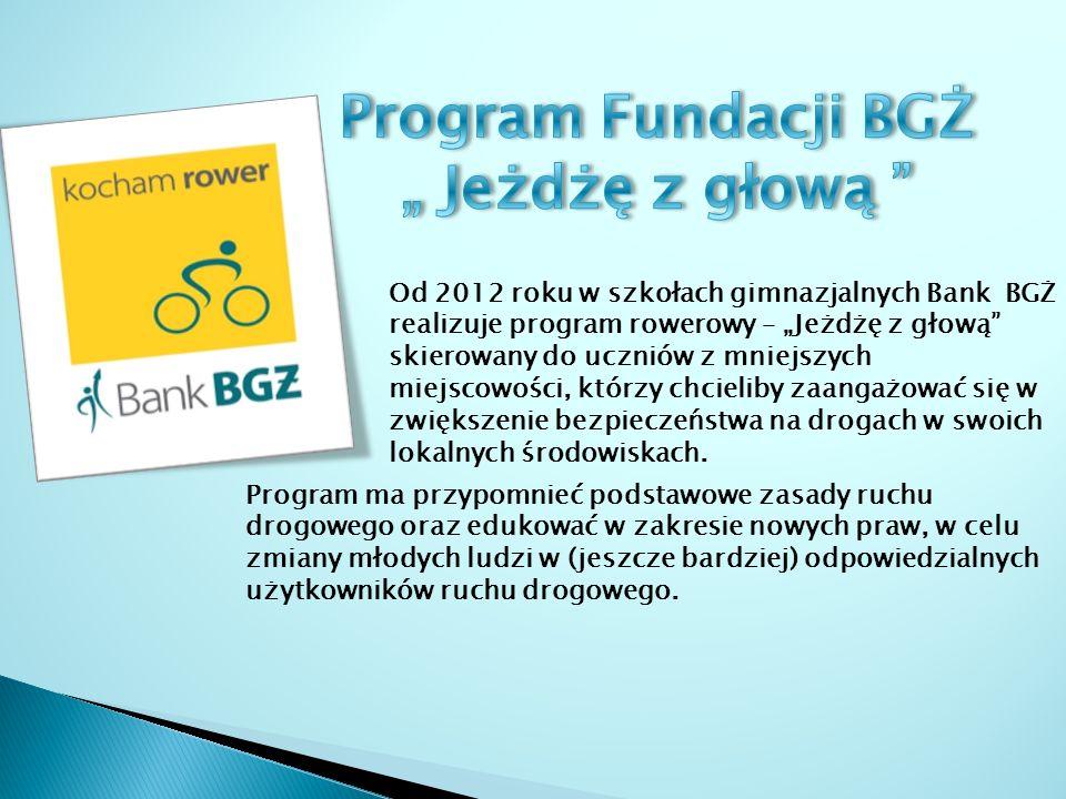Od 2012 roku w szkołach gimnazjalnych Bank BGŻ realizuje program rowerowy – Jeżdżę z głową skierowany do uczniów z mniejszych miejscowości, którzy chcieliby zaangażować się w zwiększenie bezpieczeństwa na drogach w swoich lokalnych środowiskach.
