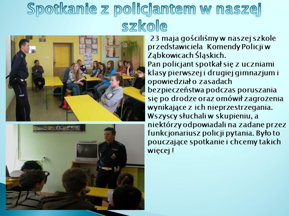 23 maja gościliśmy w naszej szkole przedstawiciela Komendy Policji w Ząbkowicach Śląskich.
