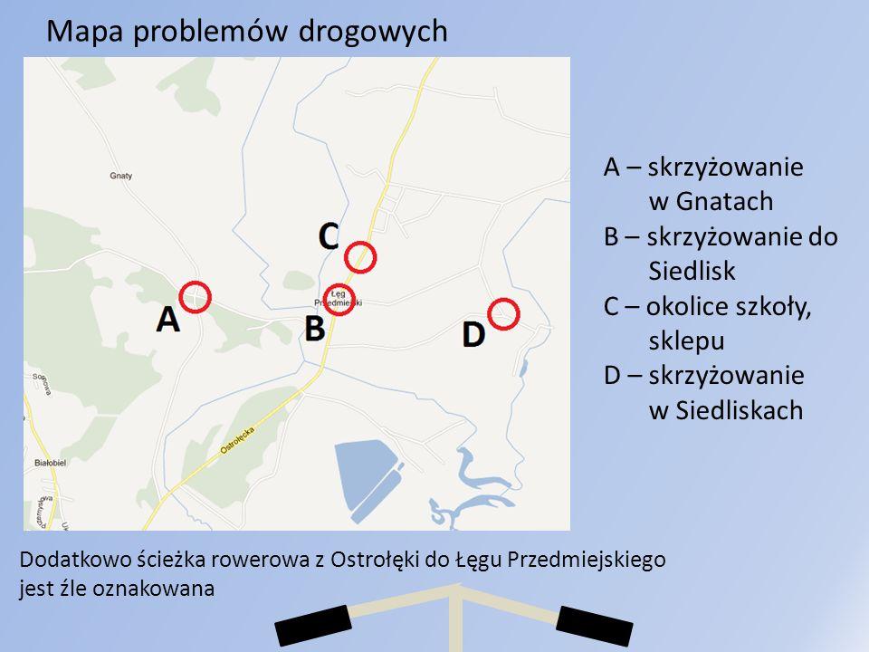 Mapa problemów drogowych A – skrzyżowanie w Gnatach B – skrzyżowanie do Siedlisk C – okolice szkoły, sklepu D – skrzyżowanie w Siedliskach Dodatkowo ś
