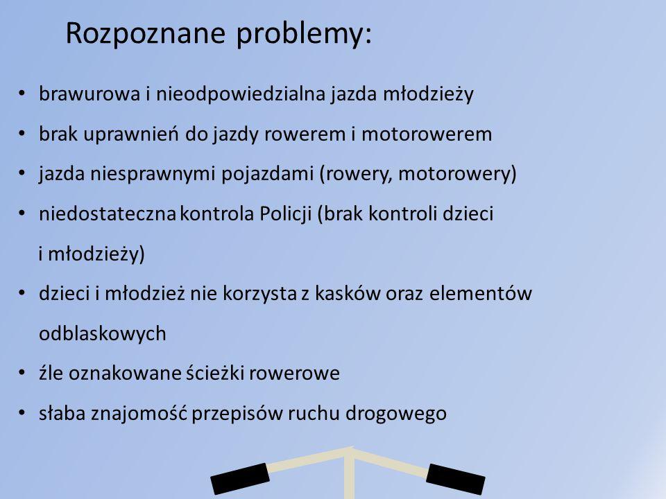 Rozpoznane problemy: brawurowa i nieodpowiedzialna jazda młodzieży brak uprawnień do jazdy rowerem i motorowerem jazda niesprawnymi pojazdami (rowery,
