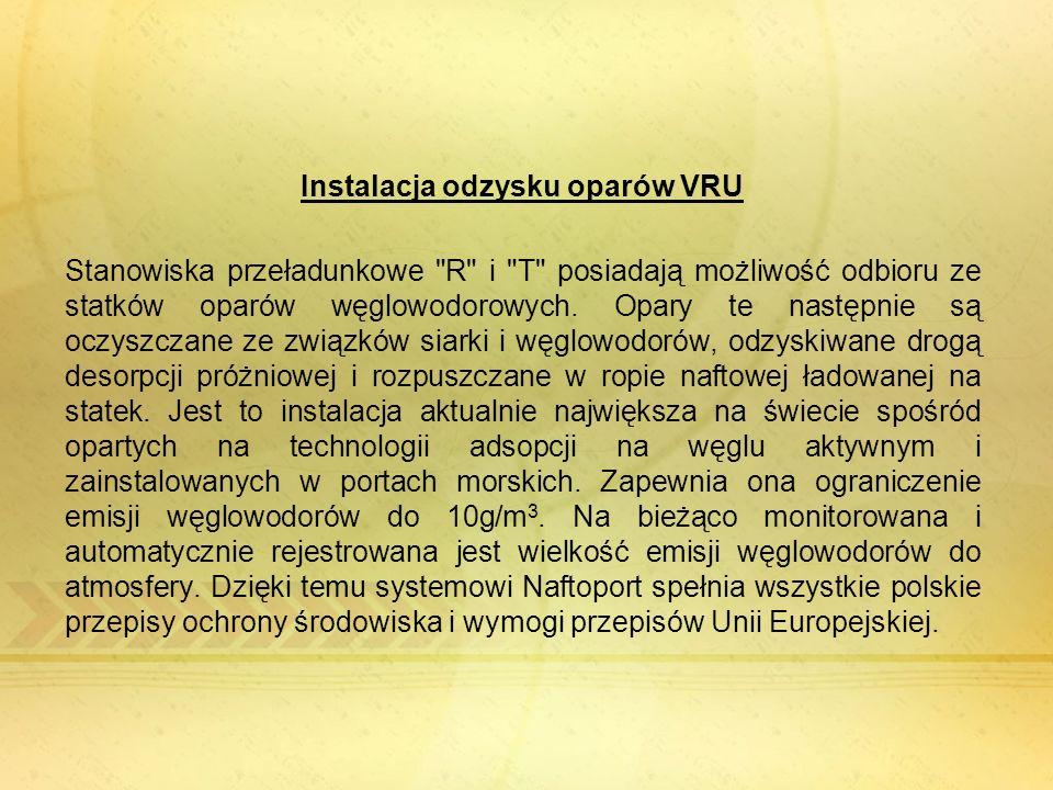 Instalacja odzysku oparów VRU Stanowiska przeładunkowe