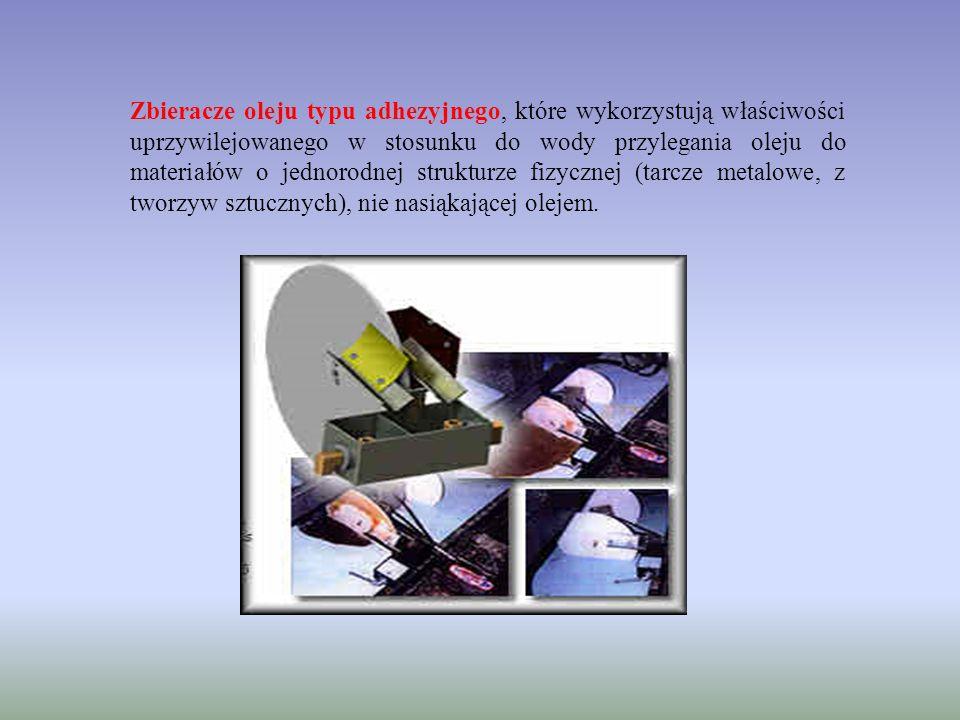 Zbieracze oleju typu adhezyjnego, które wykorzystują właściwości uprzywilejowanego w stosunku do wody przylegania oleju do materiałów o jednorodnej st