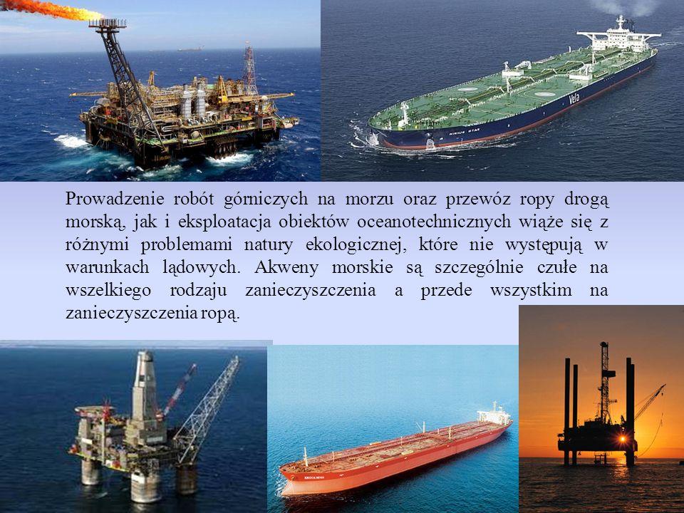 Prowadzenie robót górniczych na morzu oraz przewóz ropy drogą morską, jak i eksploatacja obiektów oceanotechnicznych wiąże się z różnymi problemami na