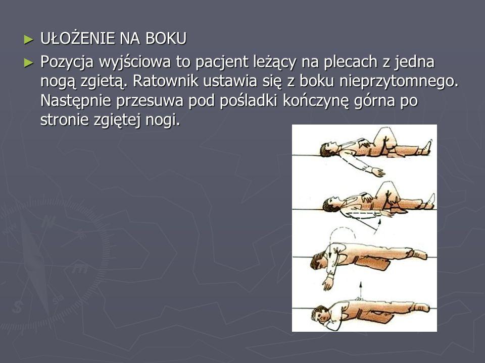 UŁOŻENIE NA BOKU UŁOŻENIE NA BOKU Pozycja wyjściowa to pacjent leżący na plecach z jedna nogą zgietą. Ratownik ustawia się z boku nieprzytomnego. Nast