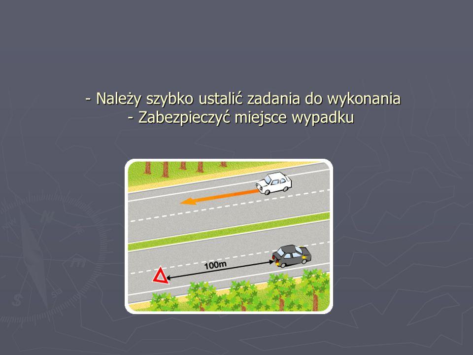 - Należy szybko ustalić zadania do wykonania - Zabezpieczyć miejsce wypadku - Należy szybko ustalić zadania do wykonania - Zabezpieczyć miejsce wypadk