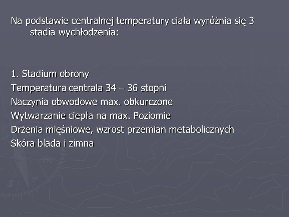 Na podstawie centralnej temperatury ciała wyróżnia się 3 stadia wychłodzenia: 1. Stadium obrony Temperatura centrala 34 – 36 stopni Naczynia obwodowe