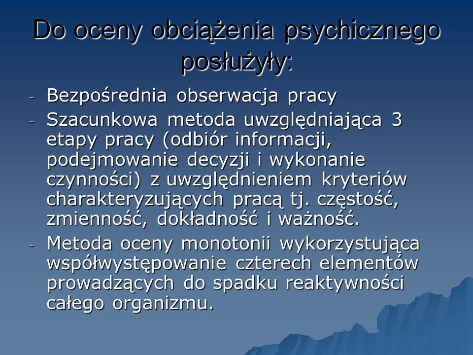 Do oceny obciążenia psychicznego posłużyły: - Bezpośrednia obserwacja pracy - Szacunkowa metoda uwzględniająca 3 etapy pracy (odbiór informacji, podejmowanie decyzji i wykonanie czynności) z uwzględnieniem kryteriów charakteryzujących pracą tj.