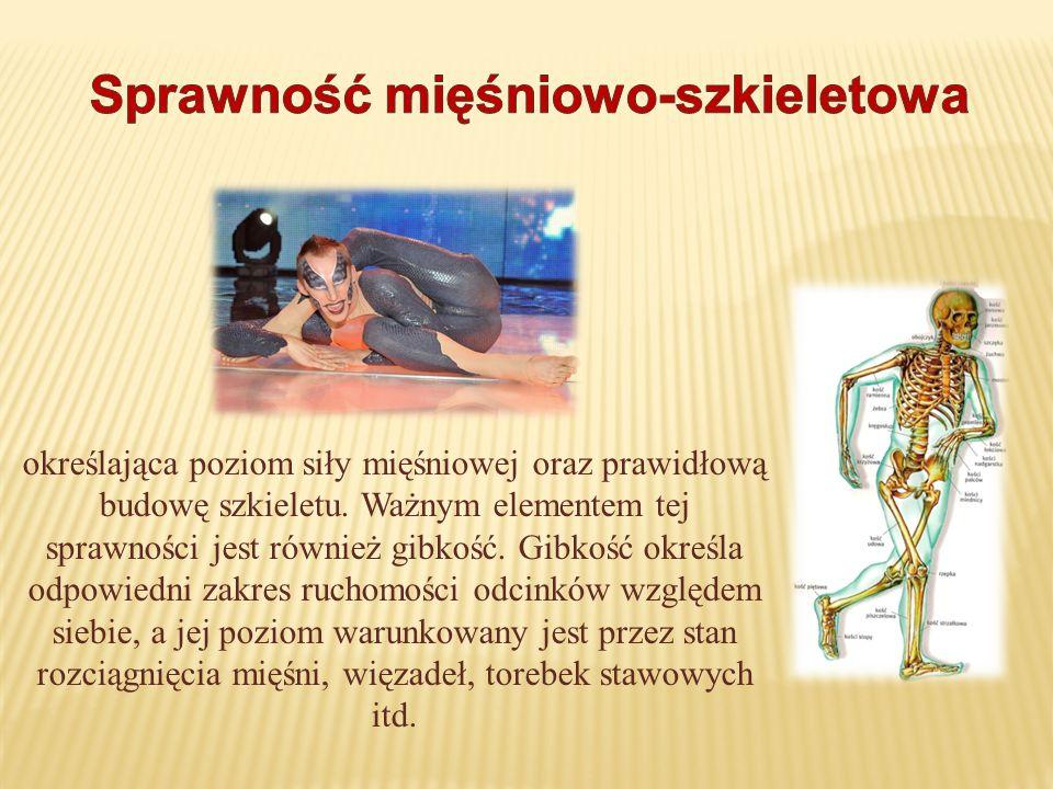 określająca poziom siły mięśniowej oraz prawidłową budowę szkieletu. Ważnym elementem tej sprawności jest również gibkość. Gibkość określa odpowiedni