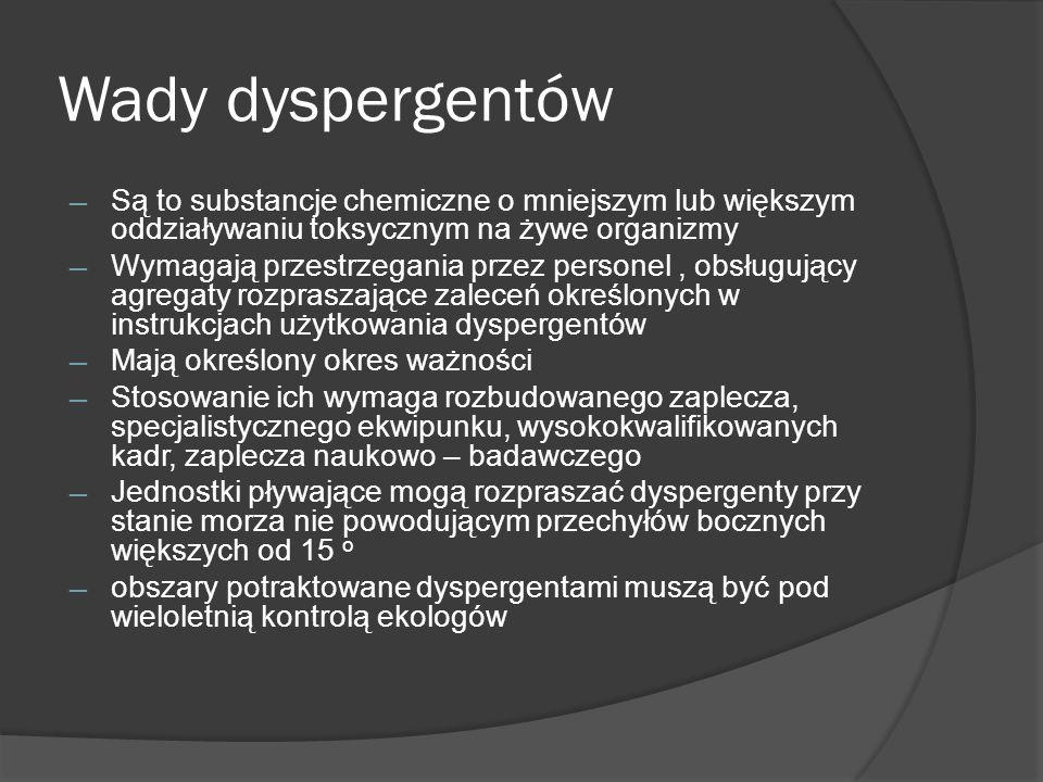 Wady dyspergentów Są to substancje chemiczne o mniejszym lub większym oddziaływaniu toksycznym na żywe organizmy Wymagają przestrzegania przez personel, obsługujący agregaty rozpraszające zaleceń określonych w instrukcjach użytkowania dyspergentów Mają określony okres ważności Stosowanie ich wymaga rozbudowanego zaplecza, specjalistycznego ekwipunku, wysokokwalifikowanych kadr, zaplecza naukowo – badawczego Jednostki pływające mogą rozpraszać dyspergenty przy stanie morza nie powodującym przechyłów bocznych większych od 15 o obszary potraktowane dyspergentami muszą być pod wieloletnią kontrolą ekologów