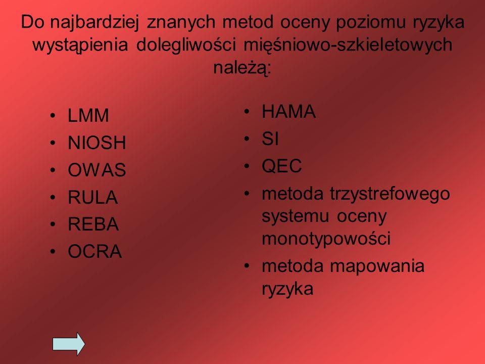 Do najbardziej znanych metod oceny poziomu ryzyka wystąpienia dolegliwości mięśniowo-szkieletowych należą: LMM NIOSH OWAS RULA REBA OCRA HAMA SI QEC m