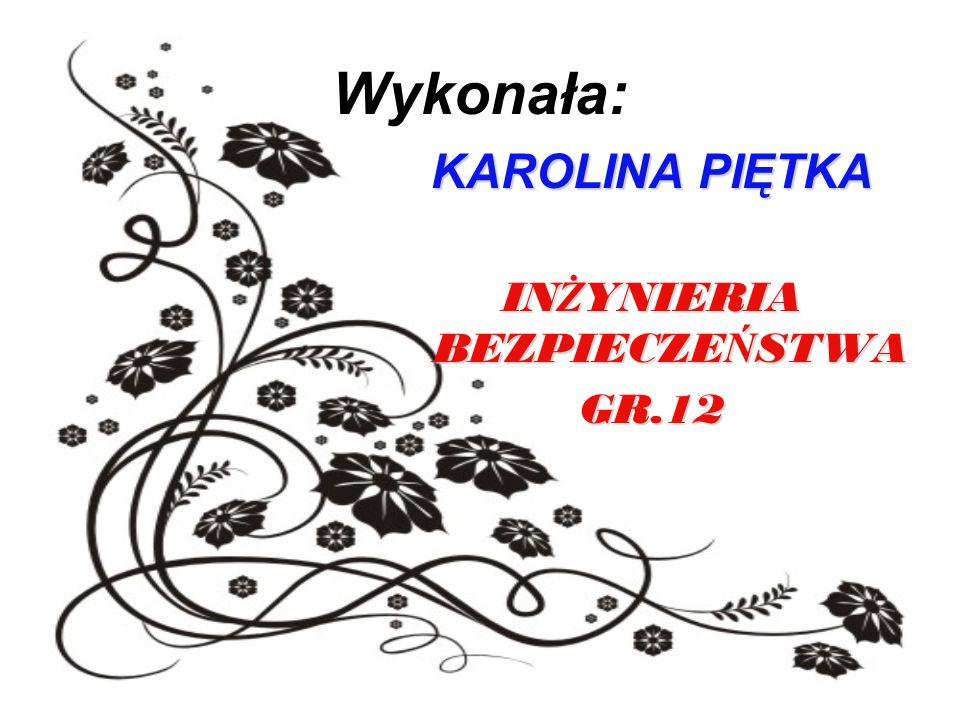 Wykonała: KAROLINA PIĘTKA IN Ż YNIERIA BEZPIECZE Ń STWA GR.12