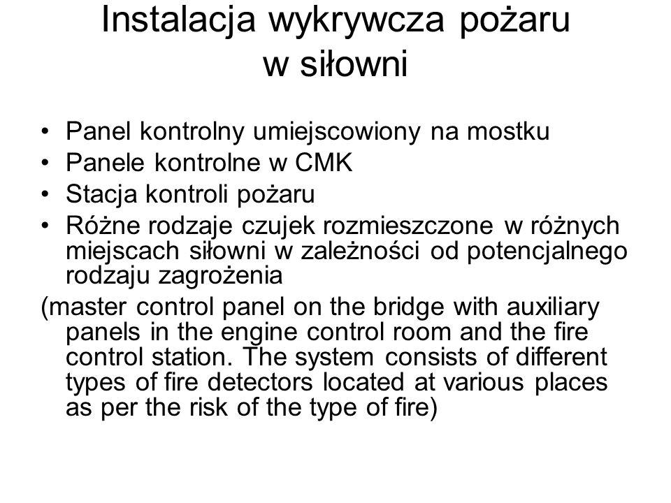 Instalacja wykrywcza pożaru w siłowni Panel kontrolny umiejscowiony na mostku Panele kontrolne w CMK Stacja kontroli pożaru Różne rodzaje czujek rozmi