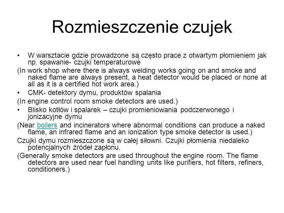 Rozmieszczenie czujek W warsztacie gdzie prowadzone są często prace z otwartym płomieniem jak np. spawanie- czujki temperaturowe (In work shop where t