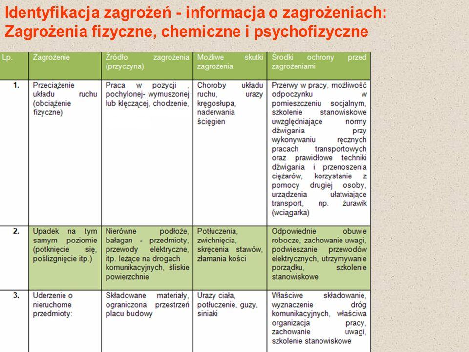 Identyfikacja zagrożeń - informacja o zagrożeniach: Zagrożenia fizyczne, chemiczne i psychofizyczne