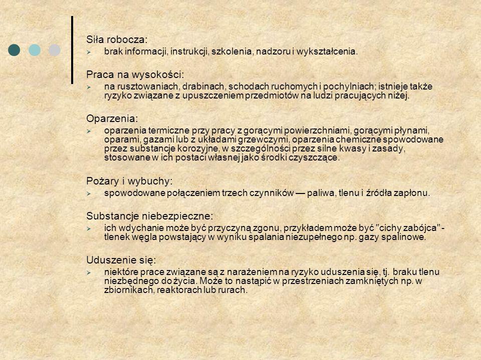 Siła robocza: brak informacji, instrukcji, szkolenia, nadzoru i wykształcenia.