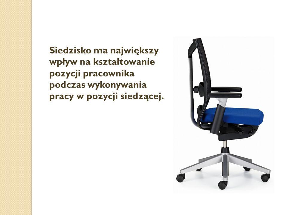 Siedzisko ma największy wpływ na kształtowanie pozycji pracownika podczas wykonywania pracy w pozycji siedzącej.