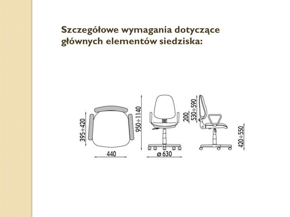 Szczegółowe wymagania dotyczące głównych elementów siedziska: