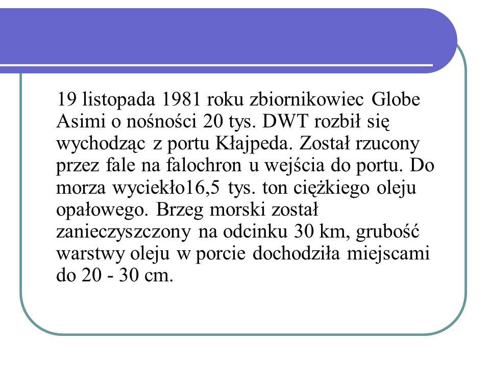 19 listopada 1981 roku zbiornikowiec Globe Asimi o nośności 20 tys. DWT rozbił się wychodząc z portu Kłajpeda. Został rzucony przez fale na falochron