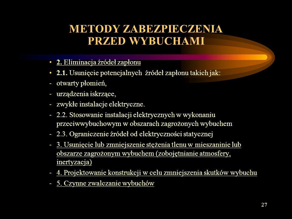 26 METODY ZABEZPIECZENIA PRZED WYBUCHAMI 1.