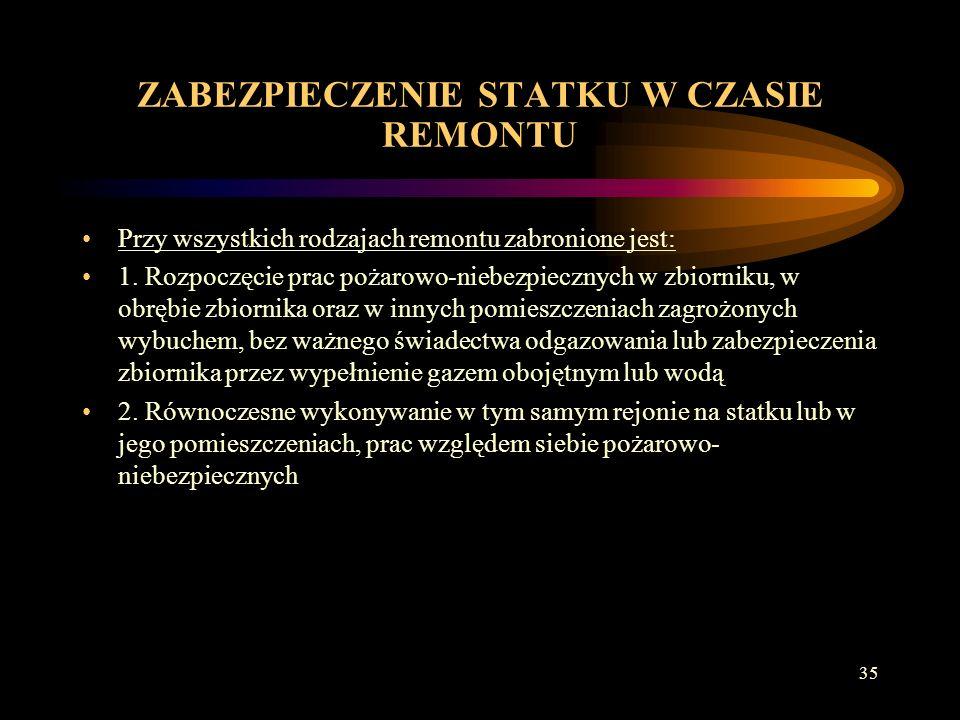 34 ZABEZPIECZENIE STATKU W CZASIE REMONTU 1.
