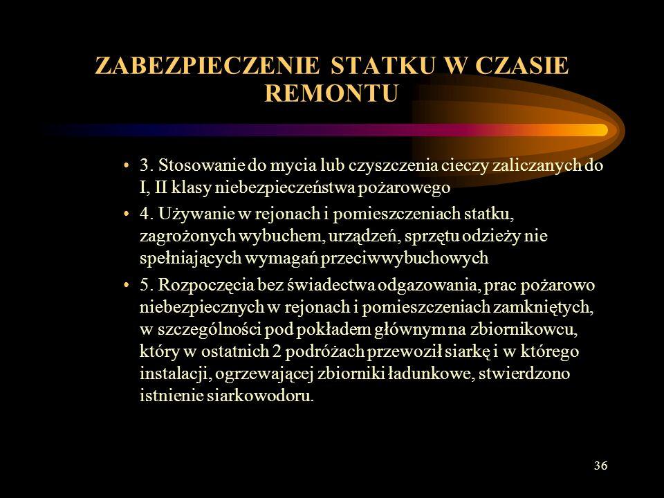35 ZABEZPIECZENIE STATKU W CZASIE REMONTU Przy wszystkich rodzajach remontu zabronione jest: 1.