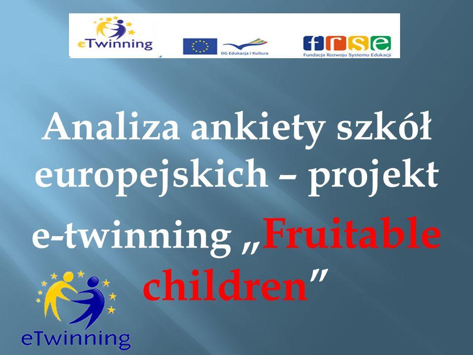 Analiza ankiety szkół europejskich – projekt e-twinningFruitable children