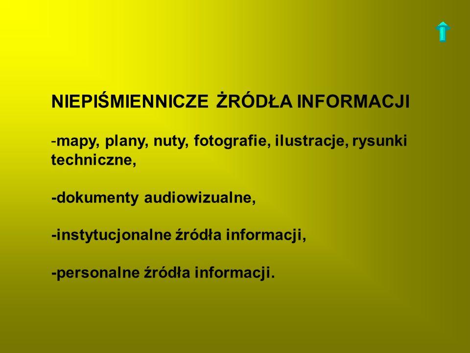 -mapy, plany, nuty, fotografie, ilustracje, rysunki techniczne, -dokumenty audiowizualne, -instytucjonalne źródła informacji, -personalne źródła infor