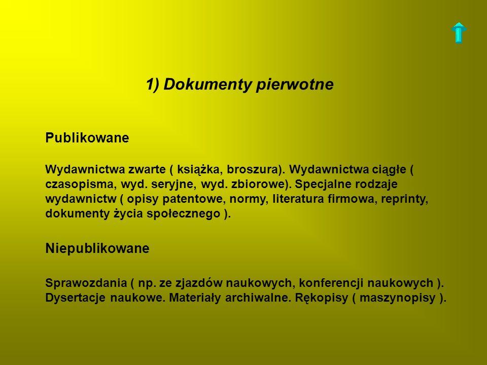 1)Dokumenty pierwotne Publikowane Wydawnictwa zwarte ( książka, broszura). Wydawnictwa ciągłe ( czasopisma, wyd. seryjne, wyd. zbiorowe). Specjalne ro