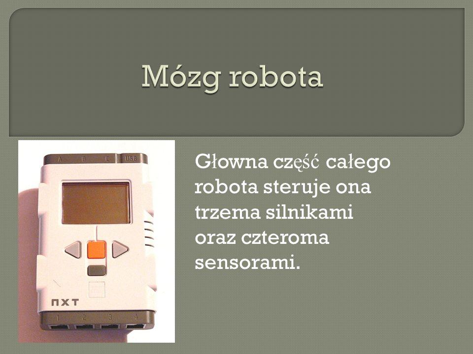 G ł owna cz ęść ca ł ego robota steruje ona trzema silnikami oraz czteroma sensorami.