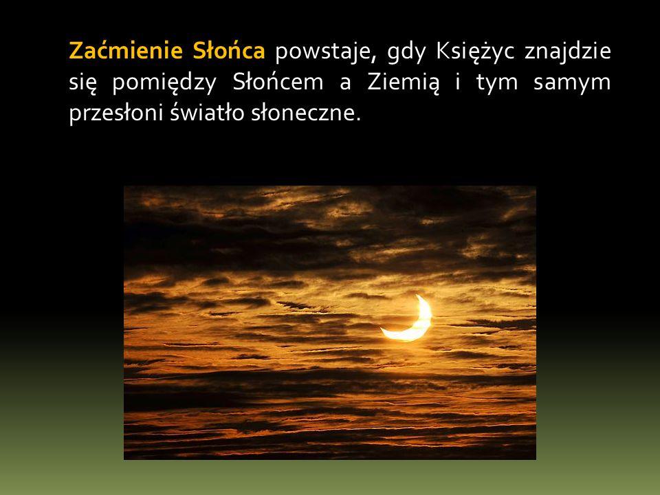 Rodzaje zaćmień Słońca zaćmienie częściowe – występuje, gdy obserwator nie znajduje się wystarczająco blisko przedłużenia linii łączącej Słońce i Księżyc