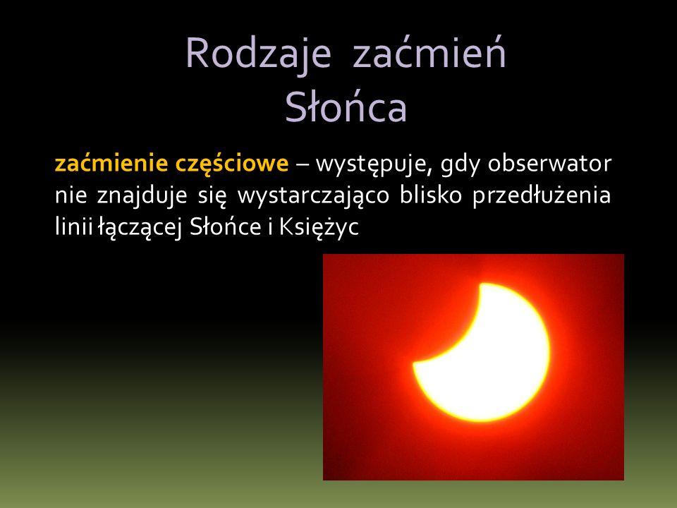 zaćmienie całkowite – występuje, gdy obserwator znajduje się w cieniu Księżyca.