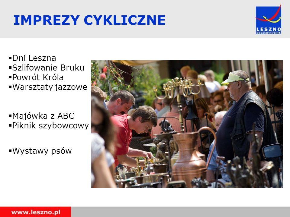 Dni Leszna Szlifowanie Bruku Powrót Króla Warsztaty jazzowe Majówka z ABC Piknik szybowcowy Wystawy psów IMPREZY CYKLICZNE