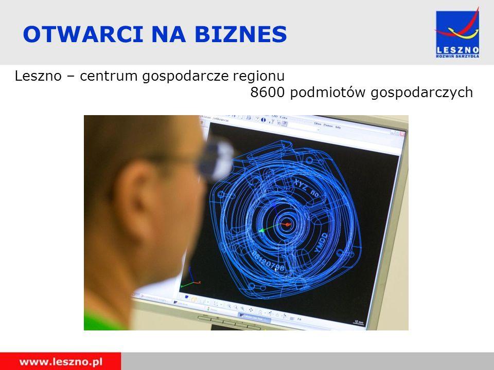 OTWARCI NA BIZNES Leszno – centrum gospodarcze regionu 8600 podmiotów gospodarczych