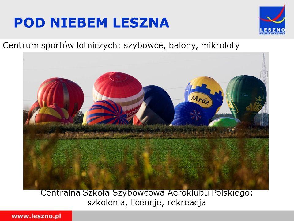 POD NIEBEM LESZNA Centrum sportów lotniczych: szybowce, balony, mikroloty Centralna Szkoła Szybowcowa Aeroklubu Polskiego: szkolenia, licencje, rekreacja