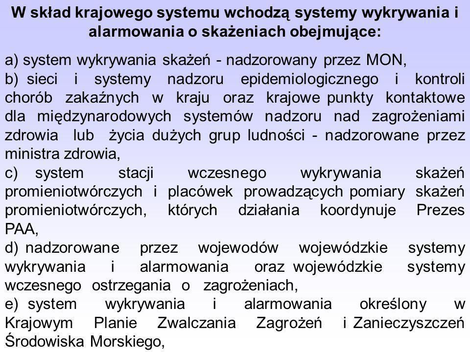 W skład krajowego systemu wchodzą systemy wykrywania i alarmowania o skażeniach obejmujące: a) system wykrywania skażeń - nadzorowany przez MON, b) si