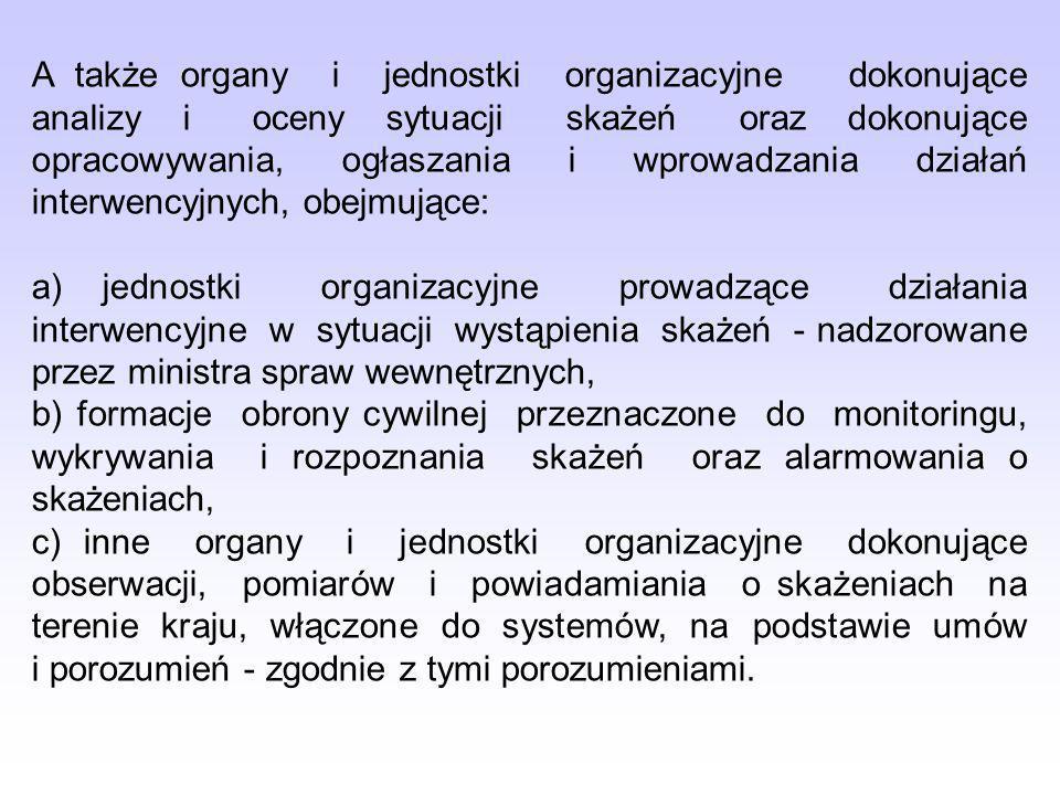 A także organy i jednostki organizacyjne dokonujące analizy i oceny sytuacji skażeń oraz dokonujące opracowywania, ogłaszania i wprowadzania działań i