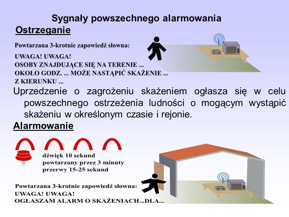 Sygnały powszechnego alarmowania Ostrzeganie Uprzedzenie o zagrożeniu skażeniem ogłasza się w celu powszechnego ostrzeżenia ludności o mogącym wystąpi