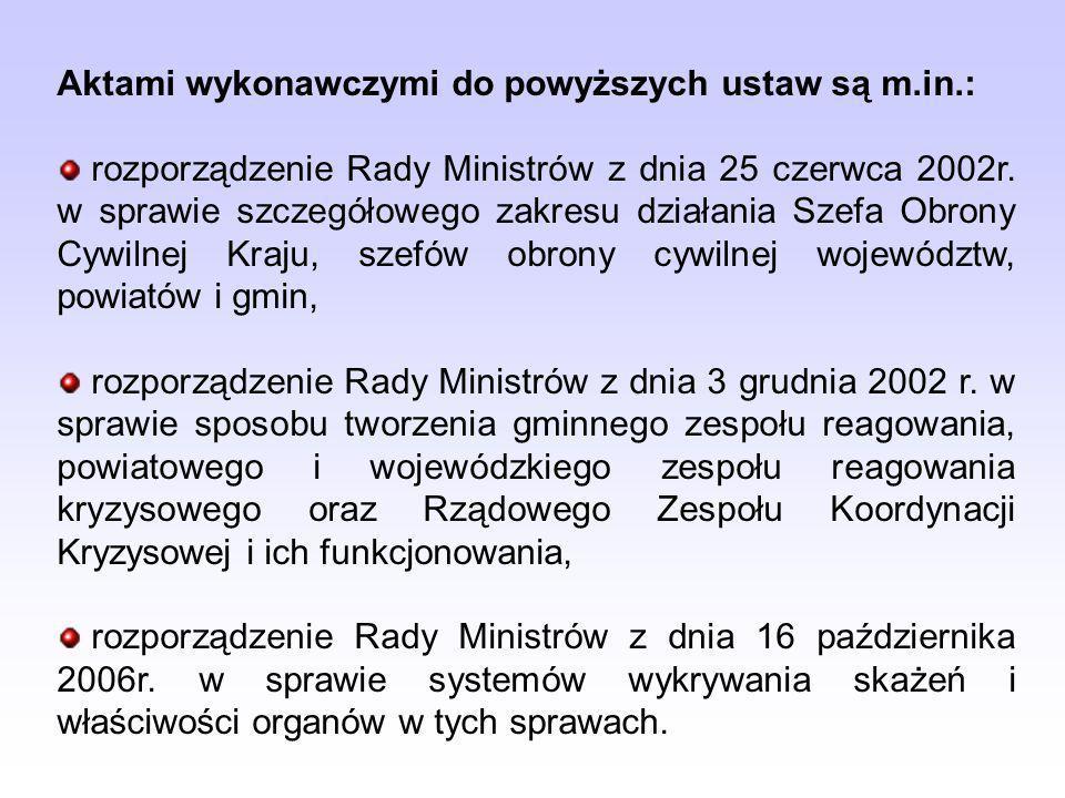 Aktami wykonawczymi do powyższych ustaw są m.in.: rozporządzenie Rady Ministrów z dnia 25 czerwca 2002r. w sprawie szczegółowego zakresu działania Sze