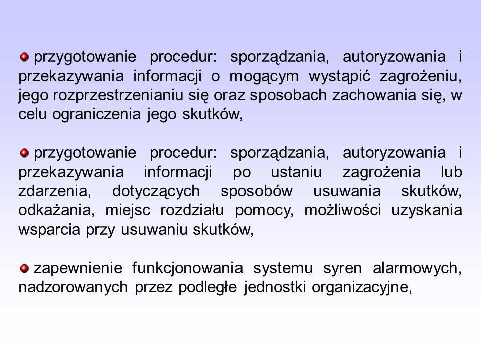 przygotowanie procedur: sporządzania, autoryzowania i przekazywania informacji o mogącym wystąpić zagrożeniu, jego rozprzestrzenianiu się oraz sposoba