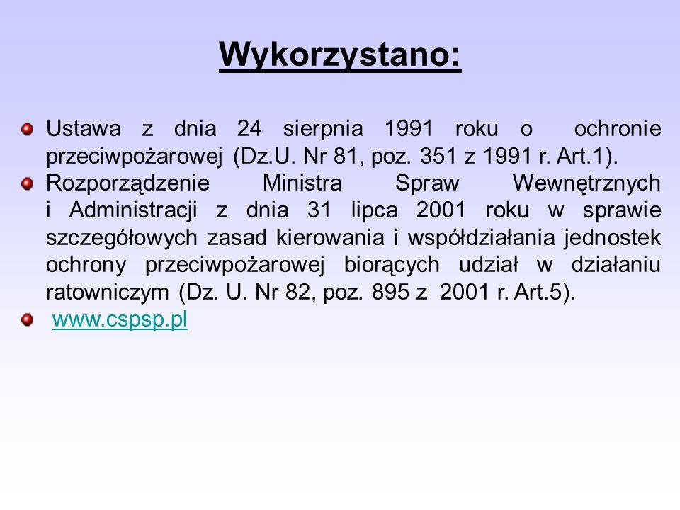 Wykorzystano: Ustawa z dnia 24 sierpnia 1991 roku o ochronie przeciwpożarowej (Dz.U. Nr 81, poz. 351 z 1991 r. Art.1). Rozporządzenie Ministra Spraw W