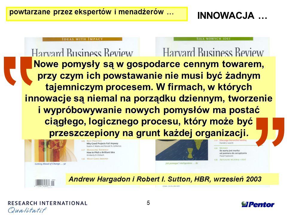 5 powtarzane przez ekspertów i menadżerów … INNOWACJA … Andrew Hargadon i Robert I.