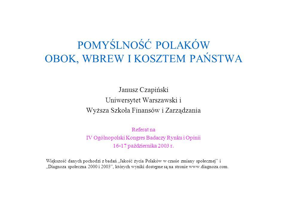 POMYŚLNOŚĆ POLAKÓW OBOK, WBREW I KOSZTEM PAŃSTWA Janusz Czapiński Uniwersytet Warszawski i Wyższa Szkoła Finansów i Zarządzania Referat na IV Ogólnopo
