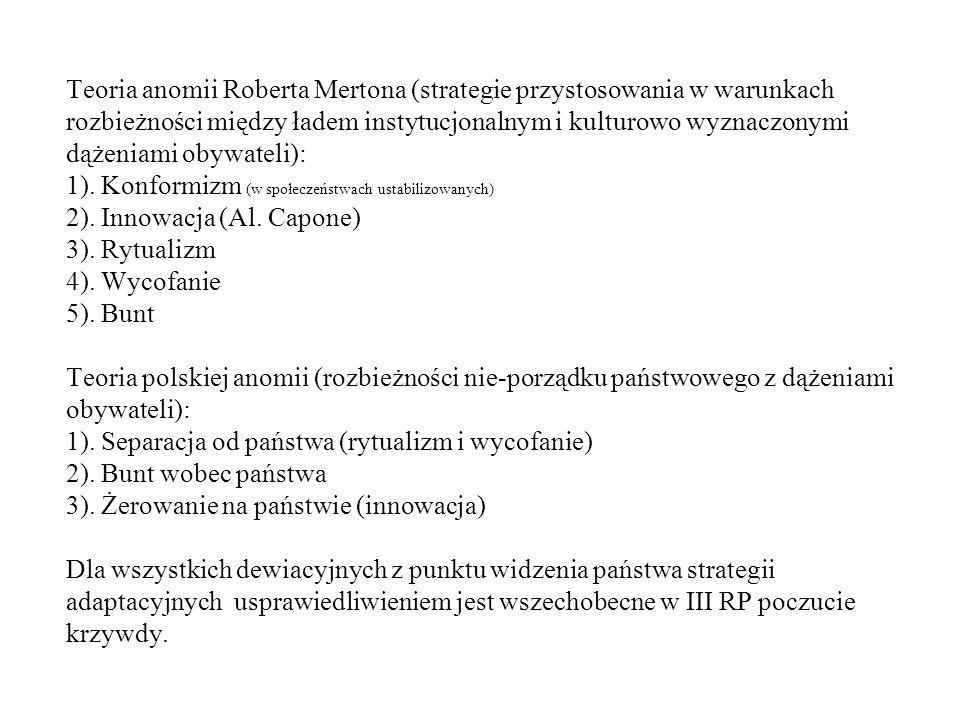 Indywidualne strategie gry z państwem Teoria anomii Roberta Mertona (strategie przystosowania w warunkach rozbieżności między ładem instytucjonalnym i