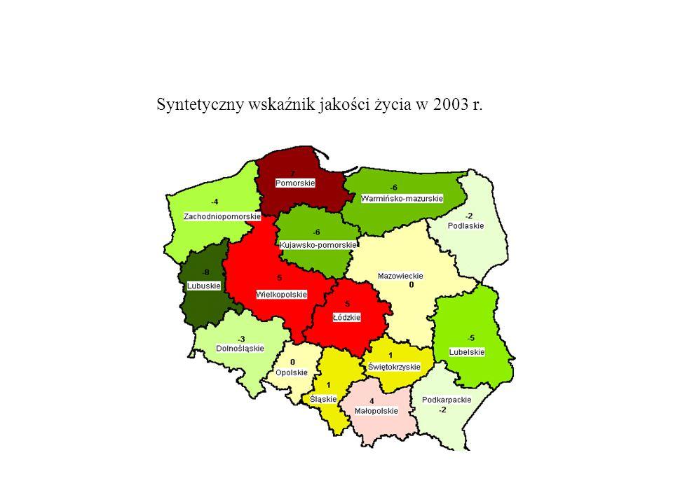 Syntetyczny wskaźnik jakości życia w 2003 r.