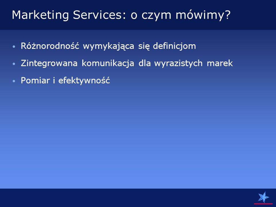 POMIAR Efekty działań agencji Marketing Services są bardziej mierzalne niż klasycznej agencji ATL